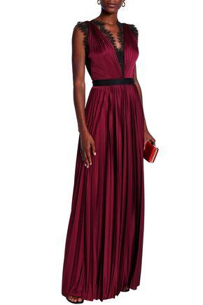 CATHERINE DEANE Lace-trimmed plissé-satin gown