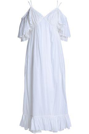 McQ Alexander McQueen Cold-shoulder lace-trimmed cotton midi dress