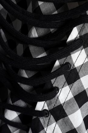 McQ Alexander McQueen Lace-up gingham cotton midi dress