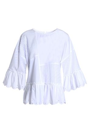 McQ Alexander McQueen Paneled broderie anglaise and cotton-poplin top