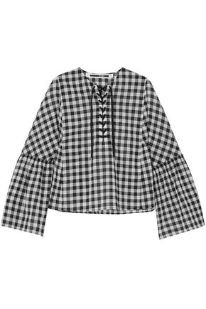 McQ Alexander McQueen Lace-up gingham cotton top