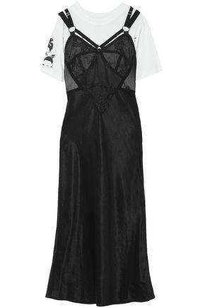 McQ Alexander McQueen Layered printed cotton-jersey and satin midi dress