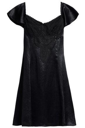 McQ Alexander McQueen Corded lace-paneled satin mini dress
