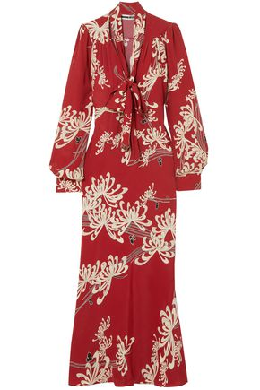 McQ Alexander McQueen Pussy-bow printed crepe de chine maxi dress
