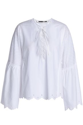 McQ Alexander McQueen Scalloped lace-up cotton-poplin blouse