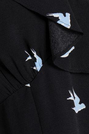 McQ Alexander McQueen Cold-shoulder ruffled printed woven top