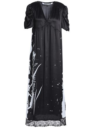 McQ Alexander McQueen Lace-trimmed metallic printed silk-satin midi dress
