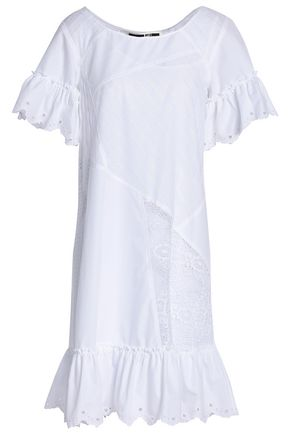 McQ Alexander McQueen Lace-paneled broderie anglaise cotton mini dress