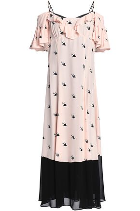 McQ Alexander McQueen Cold-shoulder printed crepe de chine midi dress