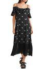 McQ Alexander McQueen Cold-shoulder printed crepe de chine midi dress