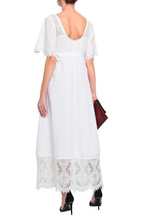 McQ Alexander McQueen Lace-up lace-paneled broderie anglaise cotton maxi dress