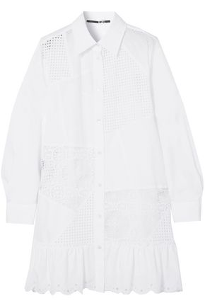 McQ Alexander McQueen Broderie anglaise cotton-poplin mini shirt dress