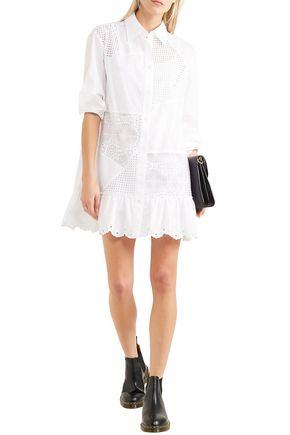 4b507c3e2d8aa McQ Alexander McQueen Broderie anglaise cotton-poplin mini shirt dress