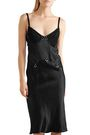 McQ Alexander McQueen Lace-trimmed crinkled-charmeuse slip dress