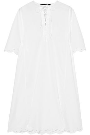 McQ Alexander McQueen Lace-up broderie anglaise-trimmed cotton-poplin mini dress