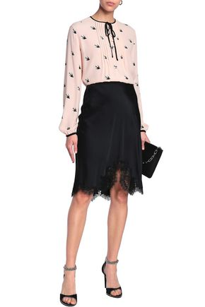 McQ Alexander McQueen Pintucked bow-embellished printed woven blouse
