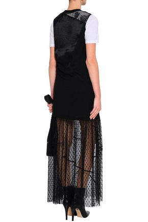 McQ Alexander McQueen Paneled lace, jersey, satin and point d'esprit maxi dress
