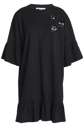 McQ Alexander McQueen Oversized embellished cotton-jersey mini dress