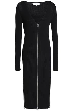 McQ Alexander McQueen Cutout zip-detailed ribbed-knit midi dress