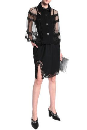 McQ Alexander McQueen Lace-trimmed tulle and French terry cape
