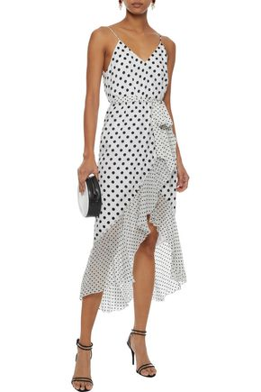 ALICE + OLIVIA Mable wrap-effect flocked chiffon midi dress