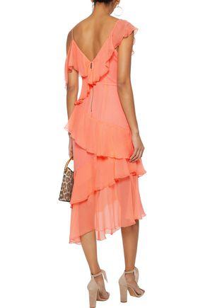 ALICE + OLIVIA Olympia asymmetric ruffled silk-georgette midi dress