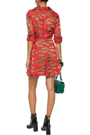 ALICE + OLIVIA Catina wrap-effect appliquéd chiffon mini dress