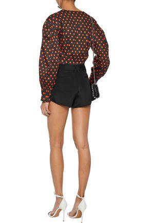 ALICE + OLIVIA Butterfly pleated silk-satin shorts