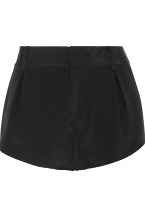 ALICE + OLIVIA Butterfly pleated silk-satin shorts
