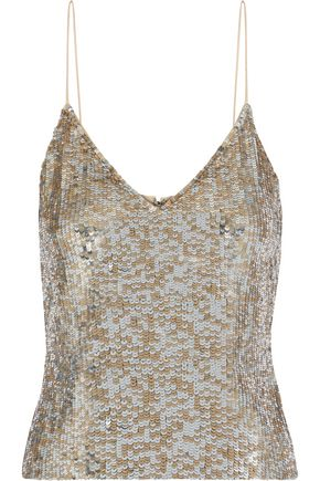 ALICE + OLIVIA Delray sequined tulle camisole
