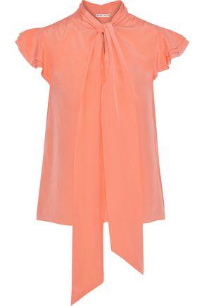 fa4dbf07429a9f ALICE + OLIVIA Pussy-bow ruffle-trimmed silk crepe de chine blouse