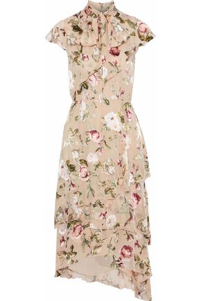 6421cc66b2a6 ALICE + OLIVIA Lavenia pussy-bow floral-print fil coupé chiffon dress