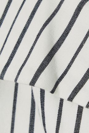 ALICE + OLIVIA Haydee cold-shoulder striped stretch-cotton top