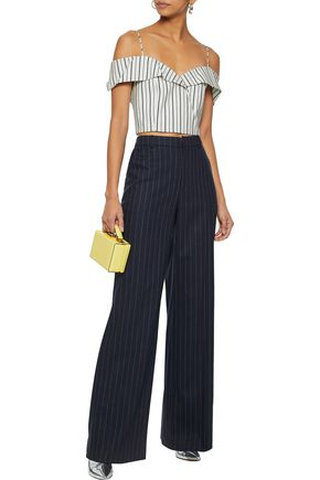 831358c8c44 ALICE + OLIVIA Haydee cold-shoulder striped stretch-cotton top