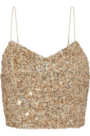 ALICE + OLIVIA Archer cropped sequined tulle camisole
