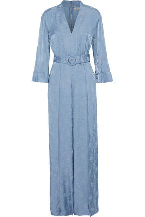 ALICE + OLIVIA Holland belted satin-jacquard jumpsuit