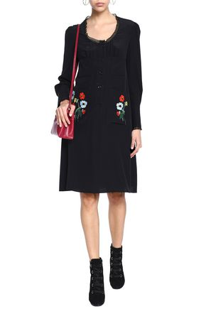 SONIA RYKIEL Embroidered silk crepe de chine dress