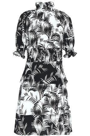 SONIA RYKIEL Shirred printed crepe de chine dress