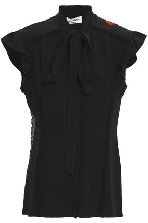 SONIA RYKIEL Pussy-bow embroidered silk crepe de chine blouse