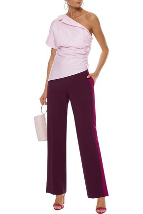 PETERSYN Leah one-shoulder ruched cotton-poplin top