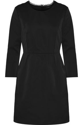 THEORY Frayed chiffon-trimmed pleated satin mini dress