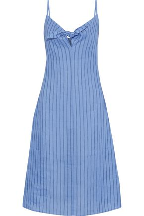 SIMON MILLER Oriska knotted striped linen-gauze slip dress