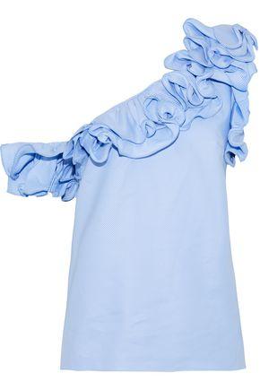 PETERSYN Arabella one-shoulder ruffled striped cotton top