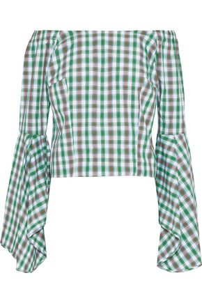 PETERSYN Harlan off-the-shoulder checked cotton top