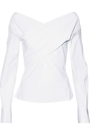THEORY Wrap-effect cotton-poplin top