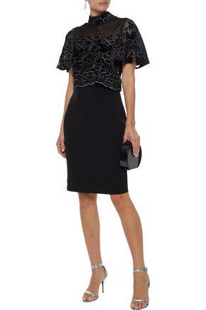 BADGLEY MISCHKA Layered velvet-appliquéd tulle and crepe dress
