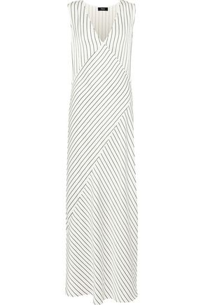 THEORY Striped satin-jacquard maxi dress