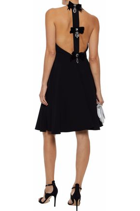 BADGLEY MISCHKA Flared embellished cady halterneck dress
