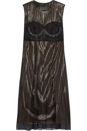 MAISON MARGIELA Layered crystal-embellished silk-organza and lamé midi dress