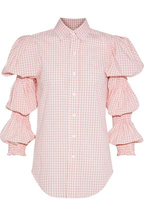 PETERSYN Ophelia shirred checked cotton-poplin shirt
